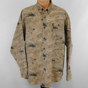 Columbia River Lodge waterfowl theme long sleeve button down shirt.  XL